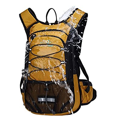 Mubasel Gear Insulated Hydration Backpack Pack 2L BPA Free Bladder - Keeps Liquid Cool up to 4 Hours Running, Hiking, Cycling, Camping (Gold)