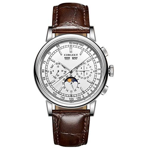 Corgeut Mens Watch-Fashion Moon Phase Automatic Mechanical Watch with Leather Strap (2057-white)