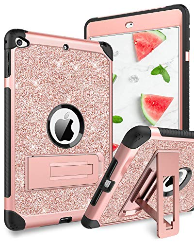 BENTOBEN iPad Mini 5 Case, iPad Mini 4 Case Kids, Ultra Slim 3 in 1 Hard PC Soft TPU Bumper Kickstand Protective Silicone Shockproof Glitter Case for iPad Mini 5 2019 / iPad Mini 4 - Rose Gold