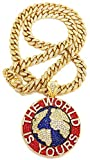 GWOOD The World is Yours Metal Pendant with 24 Inch Long Cuban Link Necklace (Gold with RED)