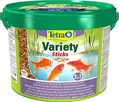 Tetra Pond Variety Sticks – Mélange Complet d'Aliments en Stick pour tous les Poissons de Bassin - Enrichis en Oligo-éléments, Vitamines essentiels, Caroténoïdes, Fibres - Ne pollue pas l'eau – 10 L