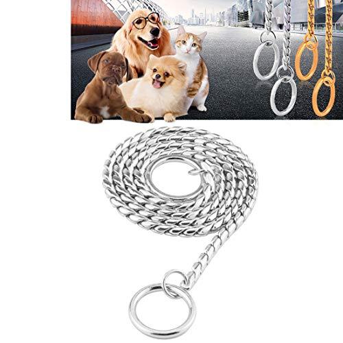 LJ huisdier kraag huisdier halsbanden huisdier nek riem hond halsband slang ketting hond ketting massief metalen ketting hond kraag, lengte: 35 cm (goud), huisdier kraag, ZILVER