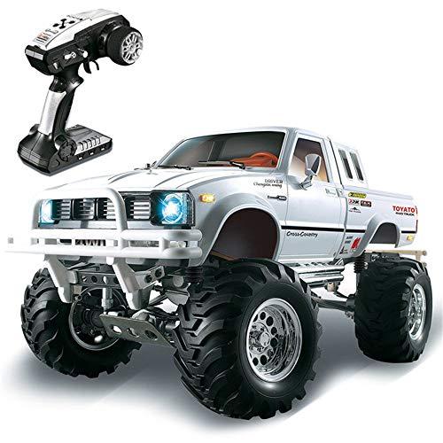 QUAKOI HG P407 1/10 2.4G 4WD Rally Rc Car for TOYATO Metal 4X4 Pickup Truck Rock(White)