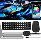 Luz Interior Coche, RGB Tiras LED con APP y Controlador, Impermeable 48 LED Luces para Coche, Multi DIY Color Música Iluminación de Coches, Adhesivo Fuerte Luz de Ambiente de Auto, 5V USB Puerto