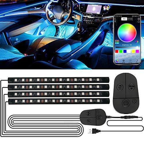 Luci Interne Auto, RGB Striscia LED con APP e Controller Aggiornati, Impermeabile 48 LEDs Luci per Auto, Multi Colore Music Sync Lampade LED Auto, Adesivo Forte Accessori Auto Tuning, Porta USB 5V