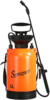 PROKTH 3L/5L Garden Sprayer 2-Gallon Portable Pump Pressure Sprayer with Shoulder Strap for Lawn Garden Watering Flower Agricultural Spray Watering Tool (Orange)