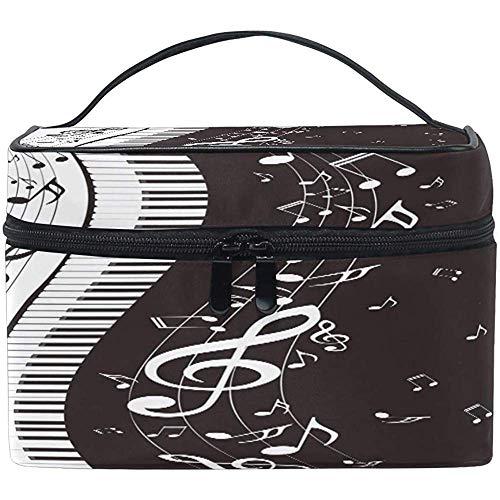 Grand Maquillage Sac Organisateur Musical Piano Clé Musique Note Cosmétique Cas Sac De Toilette De Stockage Portable Zipper Poche Voyage Brosse Sac Pour Femmes Dame