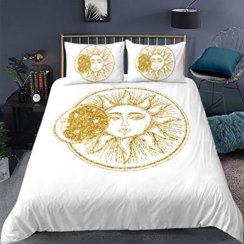 feelyou Boho Duvet Cover Set Full Size Chic Bohemian Bedding Set Hippie Celestial Sun Moon Stars Comforter Cover Microfiber Cosmic Bed Cover Digital Printed Zipper Closure Breathable Golden 3 Pieces