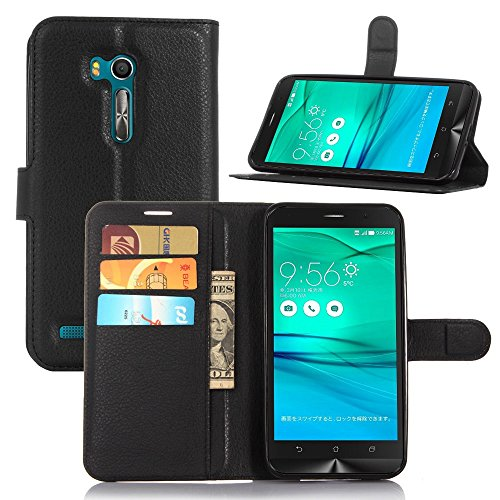 Tasche für Asus ZenFone Go ZB551KL (5.5 zoll) Hülle, Ycloud PU Ledertasche Flip Cover Wallet Hülle Handyhülle mit Stand Function Credit Card Slots Bookstyle Purse Design schwarz
