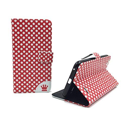 König Design Handyhülle Kompatibel mit Vodafone Smart Ultra 6 Handytasche Schutzhülle Tasche Flip Hülle mit Kreditkartenfächern - Polka Dot Rot Weiß