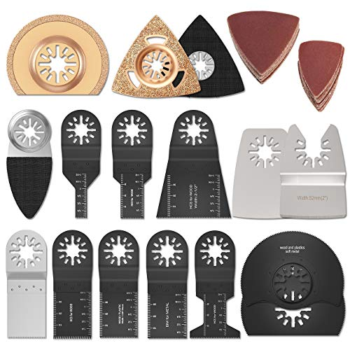 66 Pack Metal/Wood Oscillating Multitool Quick Change Saw Blades Fits Fein Multimaster, Porter Rockwell Cable, Black & Decker, Bosch Craftsman and More