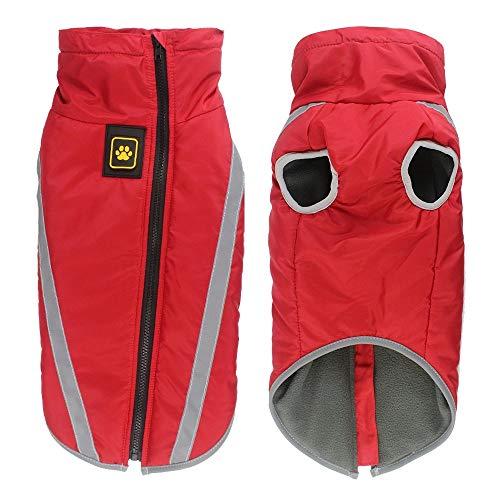 XG Hundekostüm, Herbst- und Winterjacke, dick, warm, geeignet für kleine, mittelgroße und große Hunde, Rot, XXL