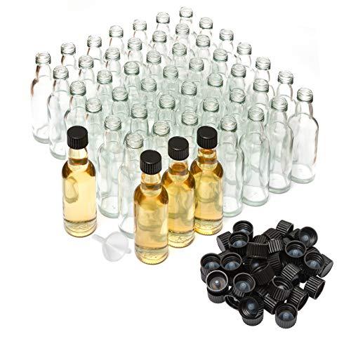 50 leere Mini Glasflaschen 50ml kleine Falschen zum Befüllen mit Schraubverschluss 5cl Probierflaschen Alkohol Likörflaschen Schnapsflaschen Ölflaschen Essigflaschen 3cm x 12cm hoch