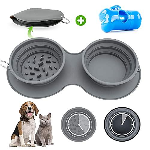 WeChip cuenco de viaje plegable,Comedero para perro y gato,cuenco para perros plegable,alimentación lenta perro y gato,cuenco de comida Portátil para Perro para Aire Libre Viaje Excursionismo Cámping.