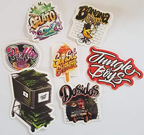 Jungle Boys 7 Stück Vinyl-Aufkleber Cali Slap Weed 420 710 Marihuana Cannabis Aufkleber Laptop Auto Werkzeug Box Skateboards