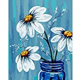 """Paint by Numbers for Adults Beginner & Kids Ages 8-12 DIY Acrylic Painting Kits Hobbies for Adult Crafts Women on Canvas Oil– 16"""" x 20"""" Three Beautiful Flowers with 3 Brushes & Bright Colors"""