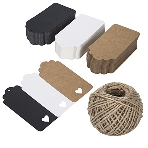 Kraft Gift Labels Tags Z&S Groups 150 PCS Paper Tags with String for Birthday Party Wedding Favors Rectangular 3 Colors Kraft Craft Tags with Love Heart -Natural Twine 131 Feet