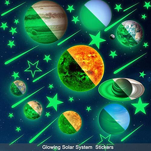 49 peças de adesivos de parede de estrelas e planetas que brilham no escuro, murais brilhantes do sistema solar, decalques de teto para quarto de crianças, sala de estar para meninas e meninos