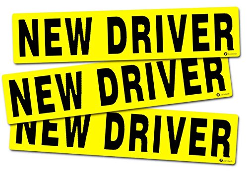 Zone Tech 'New Driver Vehicle Bumper Magnet 3-Set Premium Quality Reflective New Driver Bumper Safety Sign Magnet One for Each Side and The Rear