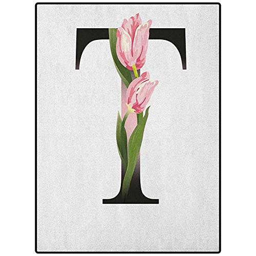 Letter T Geometric Pattern Rug Indoor Outdoor Kids Play Mat Nursery Throw Rugs Spring Garden Alphabet Font Types Soft Pink Tulip Flowers and Letter T Pale Pink Green Black 46' x 30'
