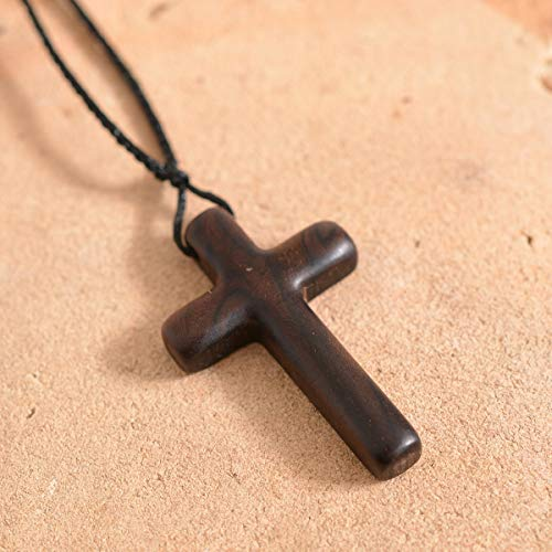 Tivivose Natural Sandalwood Cross Necklace/Pendant Compatible with Men Women Catholic Christ Religious Jesus Rosary Jewelry Gift Dropshipping (Metal Color : 1)