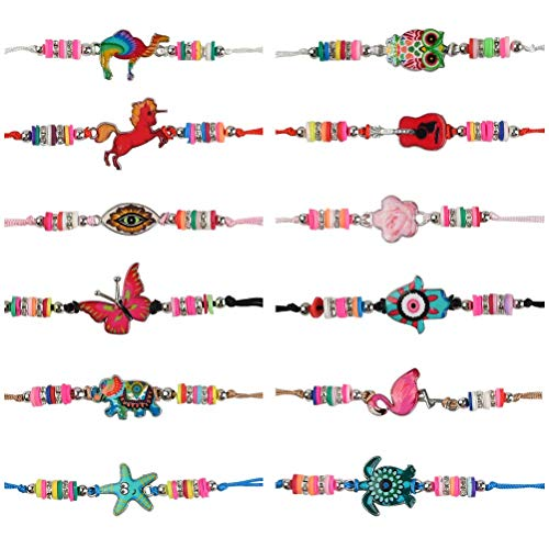 N\A 12Pcs Adjustable Kids Girls Friendship Bracelets Jewelry, Soft Ceramic Beads Bracelet for Girls, Party Cute Unicorn Pink Jewelry Bracelet Cat Owl Butterfly Animal Bracelet