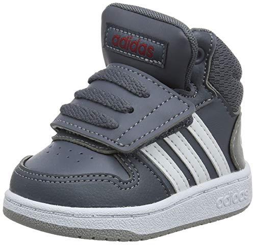 adidas Unisex Baby Hoops 2.0 Mid Sneaker, Grau (Onix/Footwear White/Active Maroon 0), 24 EU