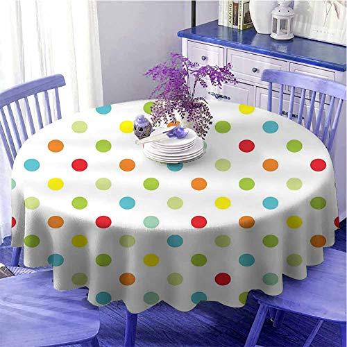 Lunares Mantel redondo camping Popular Lunares con diferentes colores Románticos Detalles Diagonales Parches regalos para las mujeres Diámetro 71' Multicolor