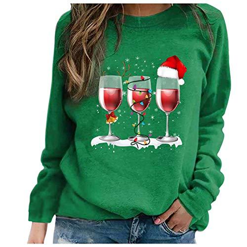 Geilisungren Weihnachten Pullover Damen Teenager Mädchen Weihnachtspulli Mode Druck...