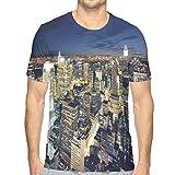 Mens 3D Printed T Shirts,Modern Cityscape After Sunset Manhattan New York USA Architectural View XL