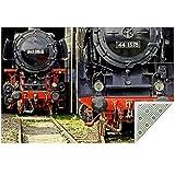 Alfombra de locomotora de tren de vapor ferroviario – Alfombra moderna para sala de estar, dormitorio, comedor, suave, antideslizante y duradera / 4 pies x 5 pies