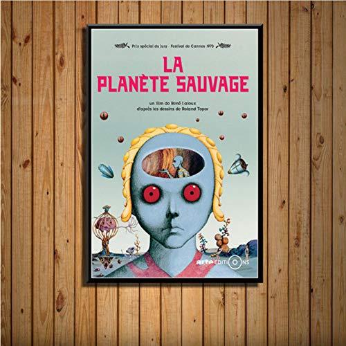 zpbzambm Rahmenlose Leinwandbilder 40X50Cm,Fantastischer Planet La Planete Sauvage Sci-Fi-Filmklassiker Seidenmalerei Auf Leinwand Wandplakat Wohnkultur Zp-1076