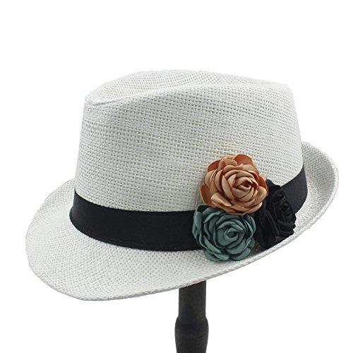 HUACHEN Toquilla Strohhut Mode Frauen Boater Strand Sonnenhut für Elegante Dame Sommer Chapeu Feminino Panama Fedora Hut mit Kamelie Blume Outdoor-Hüte (Farbe : 2, Größe : 58 cm)