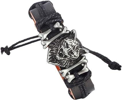 Cupimatch Bracelet en cuir avec t/ête de loup Noir