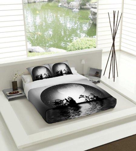 Tsuki Yakan Housse de Couette pour lit de 150 cm Zen Noir Blanc