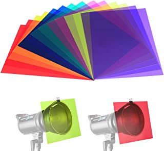 14 Pack Color Correction Light Gel Filter Sheet Colored Overlays Transparency Film Plastic Sheets, 11.7 by 8.3 Inches, 7 Colors