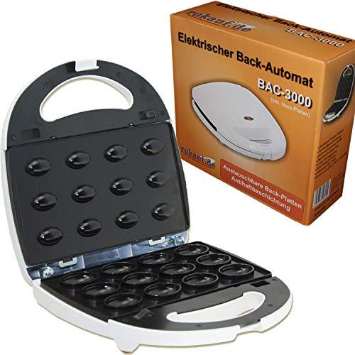 Elektrischer Back-Automat Nussbäcker BAC-3000 Nussmaker Waffeleisen 12er - austauschbare Platten (BAC3000)