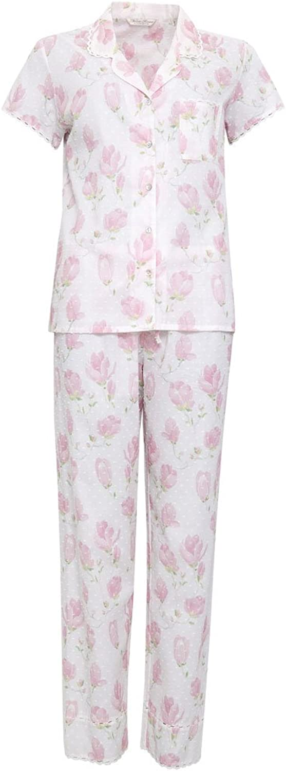 Cyberjammies 1168 Women's Nora pink White & Pink Floral Cotton PJ Pyjama Set