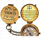 "De Cube Solid Brass Pocket Compass ""The Lord is Strength of My Life"" Free Quote Engraved and Leather Case (pre-Engraved)"