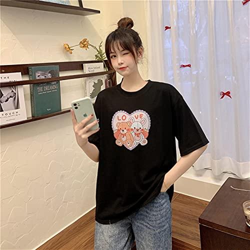Zzalo Kurzärmeliger Rundhals-T-Shirt Nette Art-Bär-Druck-Studenten-Shirt Wome (Color : Black, Size : One Size)