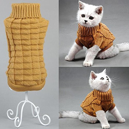 Bolbove Cable Knit Turtleneck Sweater for Small Dogs & Cats Knitwear Cold Weather Outfit (Brown, X-Small)