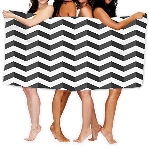 Toallas de Playa de Primera Calidad - Toallas de Piscina (31 X 51 Pulgadas) con Estampado en Zigzag Negro Blanco