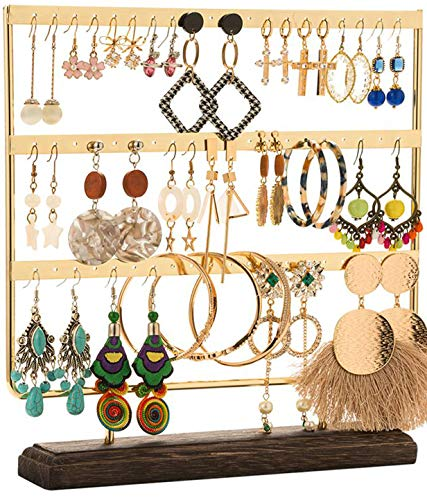 DHMK Earring Stand Jewelry Display Rack 3-Tier Ear Stud Holder Jewelry Organizer Ear Stud Earring Holder 69 Holes with Wood Base Stand Display Rack for Women Girls Gift Ear Stud Holders