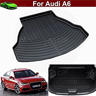 1pcs Leather Car Boot Liner Rear Trunk Cargo Mat Trunk Tray Trunk Cargo Liner Mat Cargo Tray Floor Mat Custom Fit for Audi A6 2012 2013 2014 2015 2016 2017 2018 2019