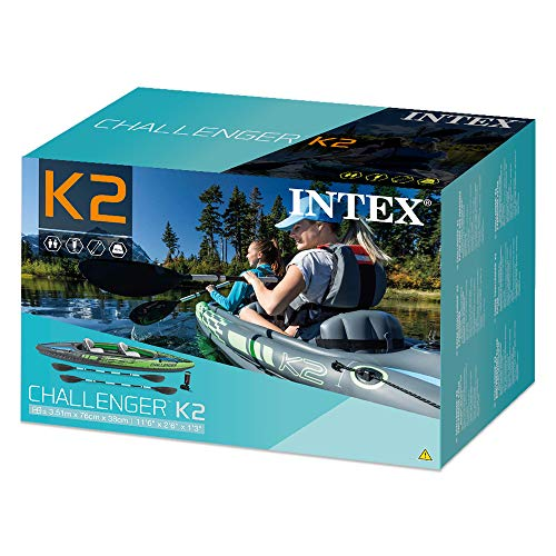Intex K2 Challenger Kayak 2 Person Inflatable Canoe with Aluminum Oars and Hand Pump