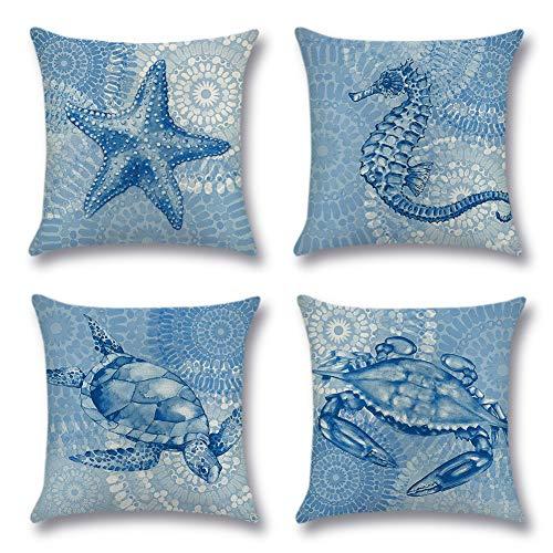 JOTOM Funda de cojín de lino de algodón decorativa para sofá de casa [45 x 45 centímetros - Tema Criaturas marinas B]