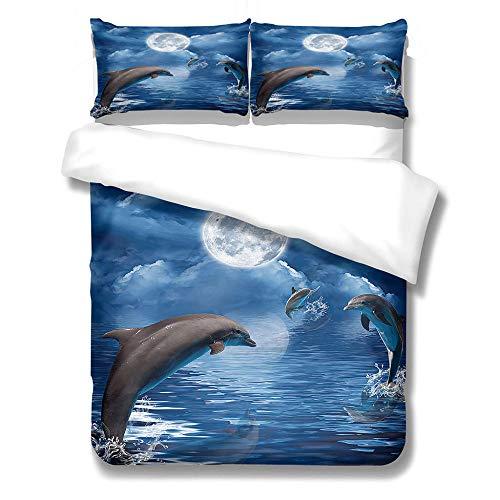 Funda Nórdica - delfín de Cielo Azul3D Juego de Funda de Edredón con 2 Fundas de Almohada 50X75Cm Antiácaros y Antialérgico 220X240Cm