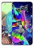 Sunrive Funda Compatible con Samsung Galaxy S6 Edge Plus, Silicona Slim Fit Gel Transparente Carcasa Case Bumper de Impactos y Anti-Arañazos Espalda Cover(X Gato 1)