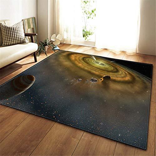 XuJinzisa Galaxy Space Starry Sky Alfombra Antideslizante De Franela Súper Suave Impresión 3D Sala De Estar Dormitorio Alfombra Decoración del Hogar Estera W6889 120X120Cm