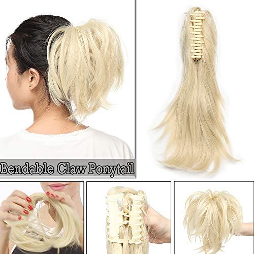 Silk-co Postiche Queue de Cheval A Pince Flexible 12 Pouces Extension de Cheveux Queue de Cheval Ondulé Synthétique Bendable Ponytail Extension Claw On, Blond Très Clair